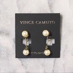 Vince Camuto Faux Pearl Clip Back Earrings New